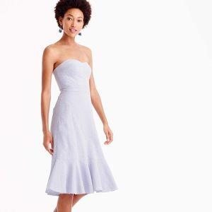 NWT J Crew Blue Strapless Ruffle Hem Dress xs. 00